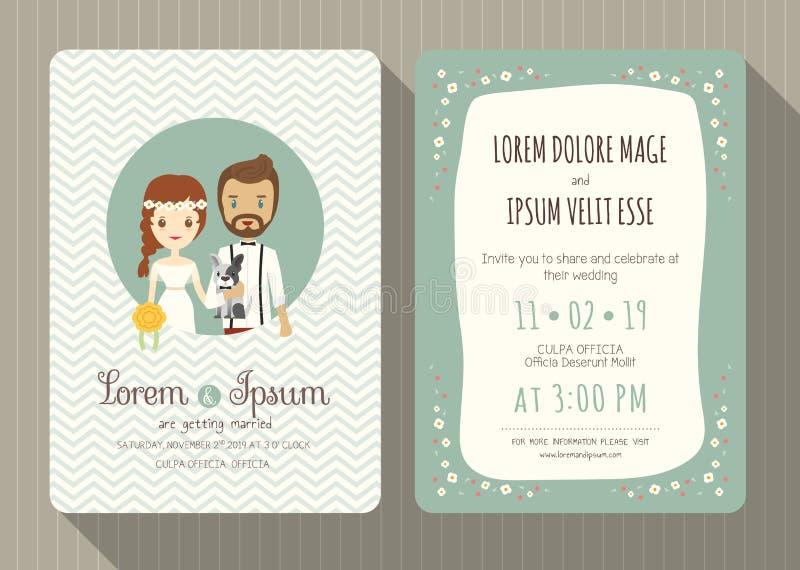 Carte d'invitation de mariage avec la bande dessinée mignonne de marié et de jeune mariée illustration stock