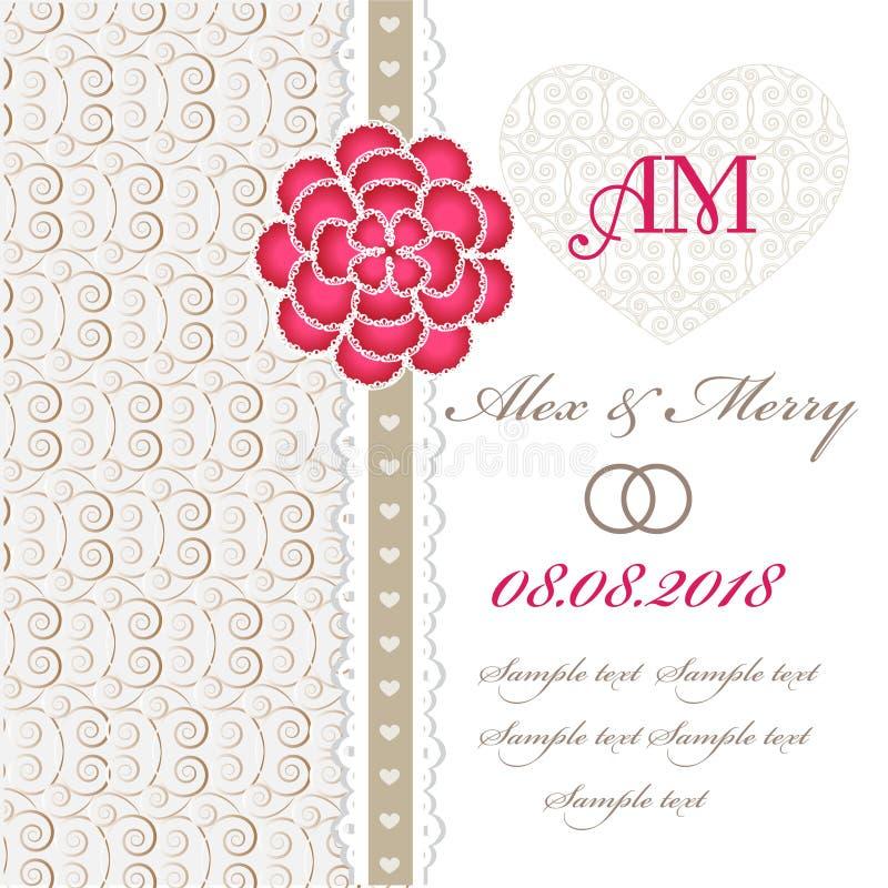 Carte d'invitation de mariage avec les éléments floraux. illustration de vecteur