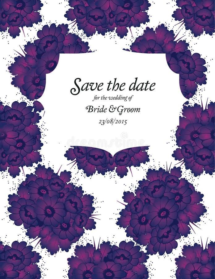 Carte d'invitation de mariage avec les fleurs pourpres illustration libre de droits
