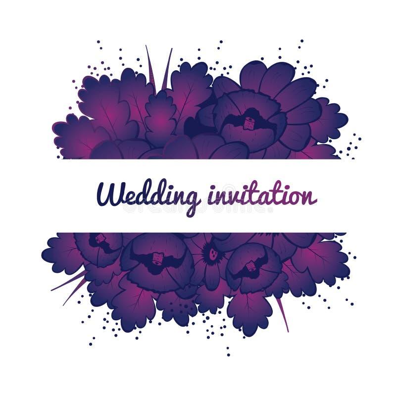 Carte d'invitation de mariage avec les fleurs pourpres illustration stock