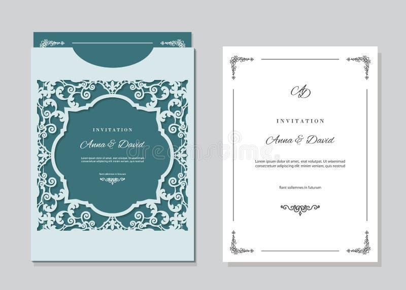 Carte d'invitation de mariage et calibre d'enveloppe avec le laser coupant le cadre en filigrane illustration libre de droits