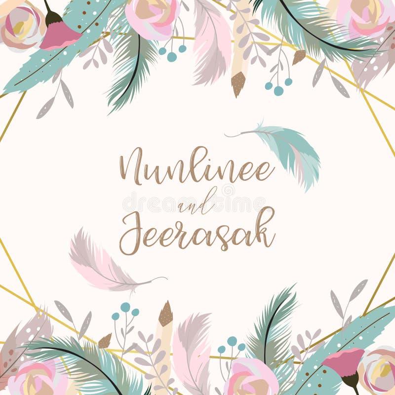 Carte d'invitation de mariage d'or de la géométrie avec la fleur, feuille, ruban, wr illustration stock