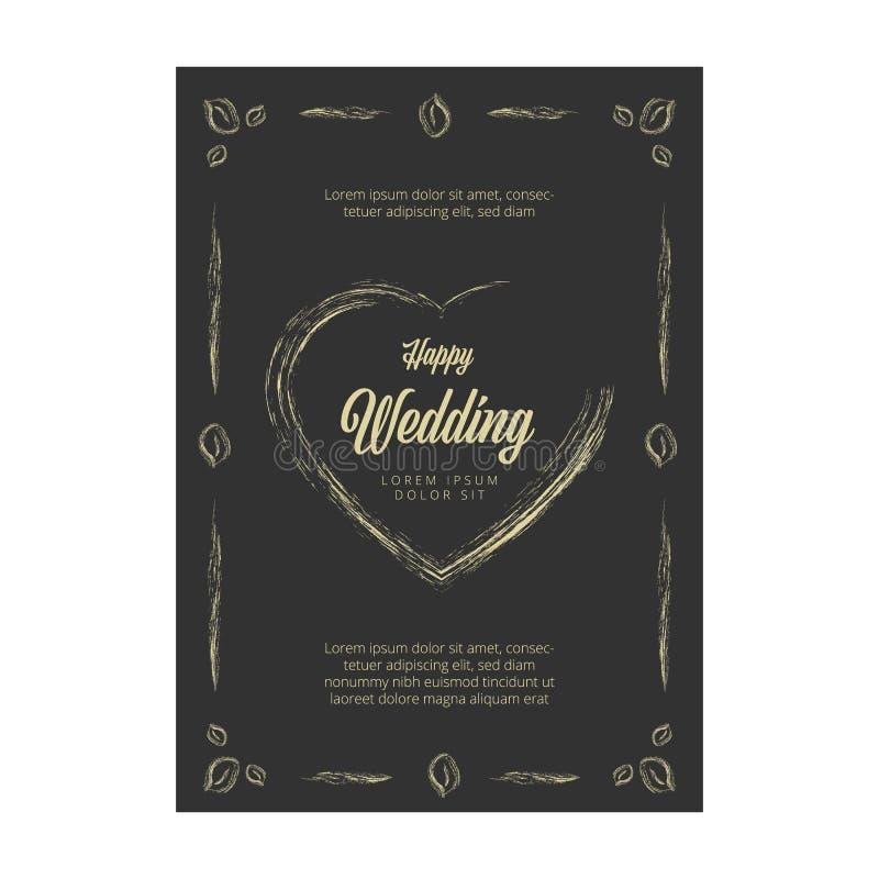 Carte d'invitation de mariage de vecteur sur le tableau illustration libre de droits