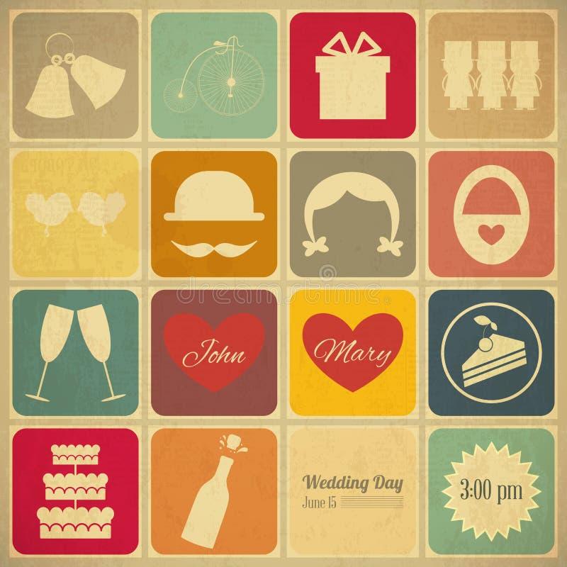 Carte d'invitation de mariage vieille rétro illustration stock
