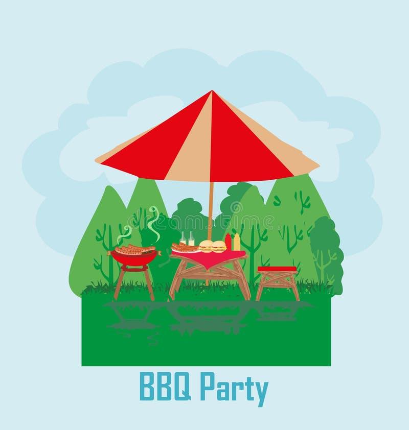 Carte d'invitation de partie de barbecue illustration libre de droits