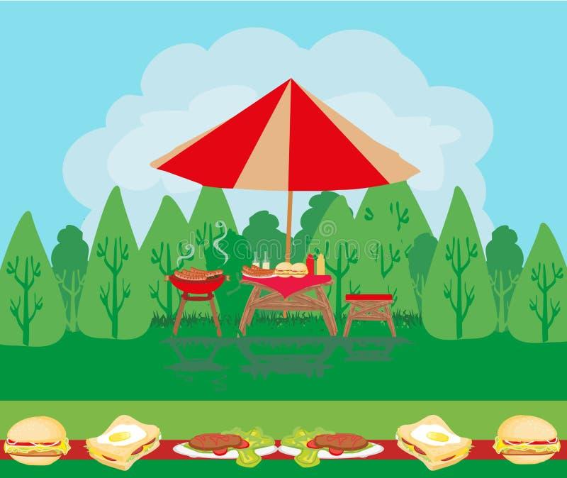 Carte d'invitation de partie de barbecue illustration de vecteur