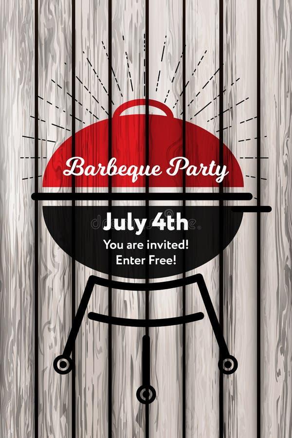 Carte d'invitation de partie de barbecue de Julyconcept d'illustration de vecteur 4ème sur le rétro fond Partie de BBQ avec le gr illustration de vecteur