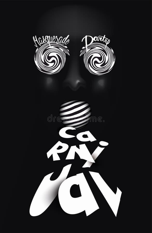 Carte d'invitation de PARTIE de carnaval avec le masque noir et les lettres rayées illustration libre de droits