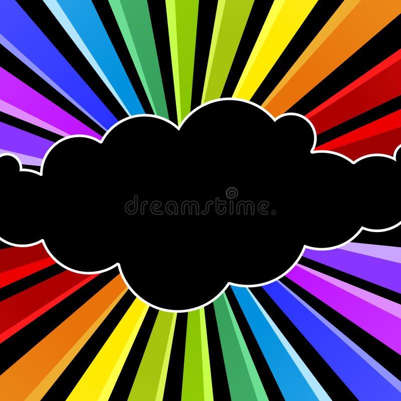 Carte d'invitation de partie de nuit de nuage d'arc-en-ciel illustration stock