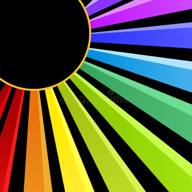 Carte d'invitation de partie de nuit de Sun d'arc-en-ciel illustration de vecteur