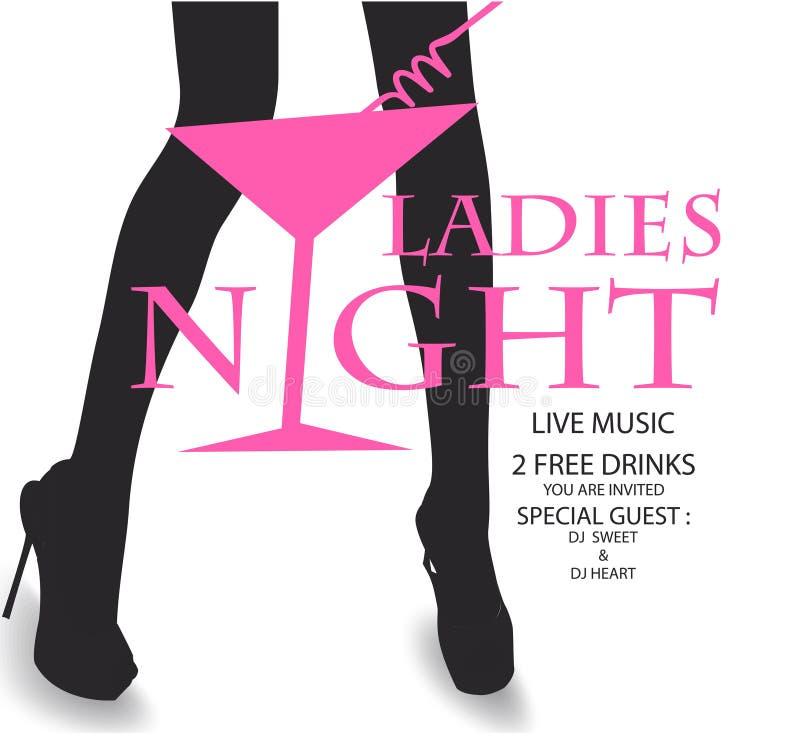 Carte d'invitation de partie de nuit de dames avec les jambes de la femme et le verre de cocktail en tant que culottes illustration stock