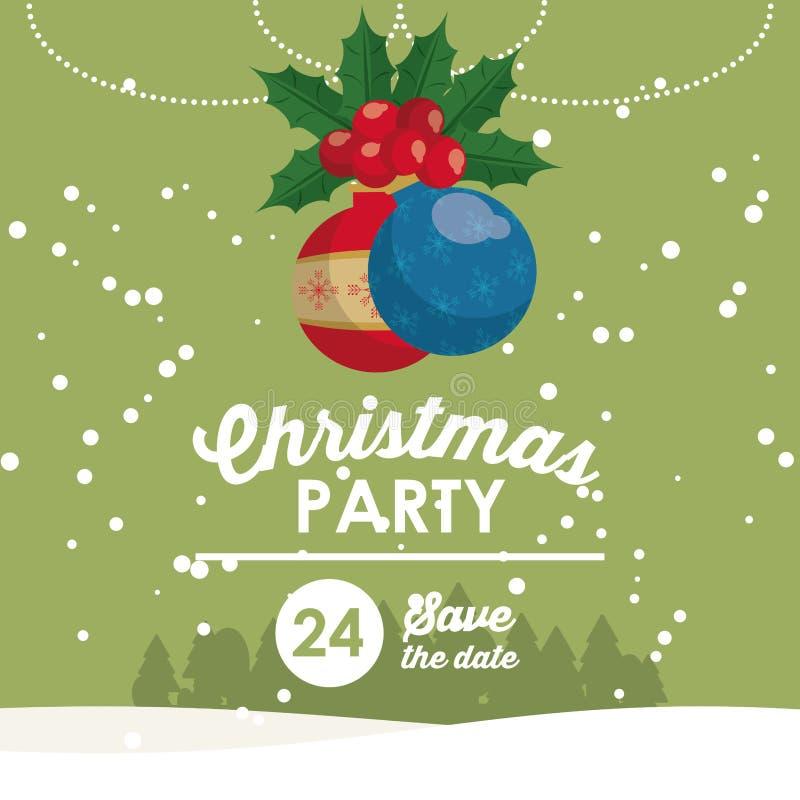 Carte d'invitation de pièce de Noël illustration de vecteur