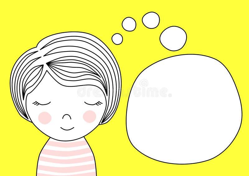Carte d'invitation de salutation de fille rêvante illustration libre de droits