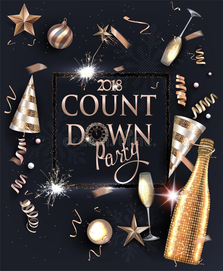 Carte d'invitation de soirée du Nouveau an avec les objets de deco et le cadre de cierge magique illustration libre de droits