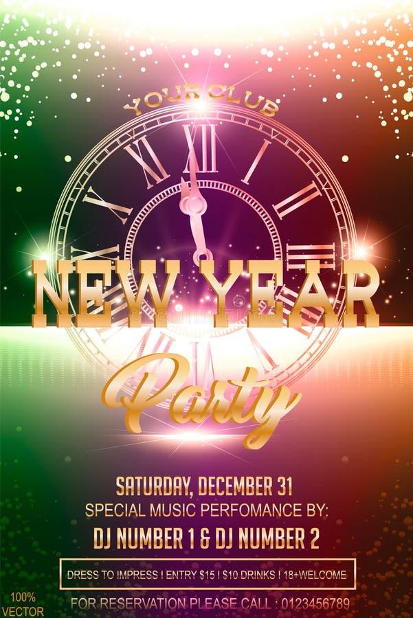 Carte d'invitation de 2019 soirées du Nouveau an avec une montre, carillons illustration stock