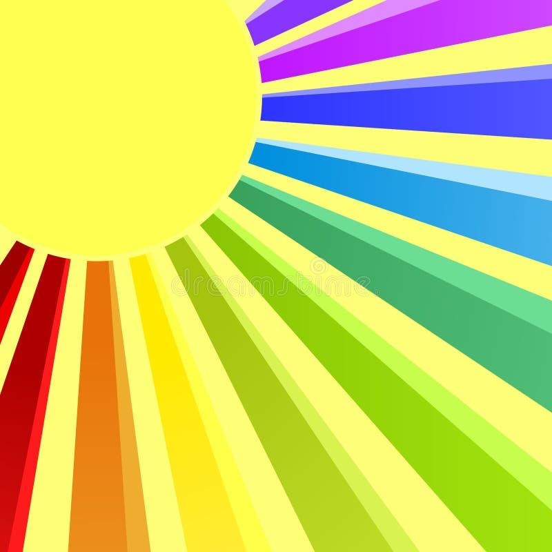 Carte d'invitation de Sun d'arc-en-ciel illustration stock