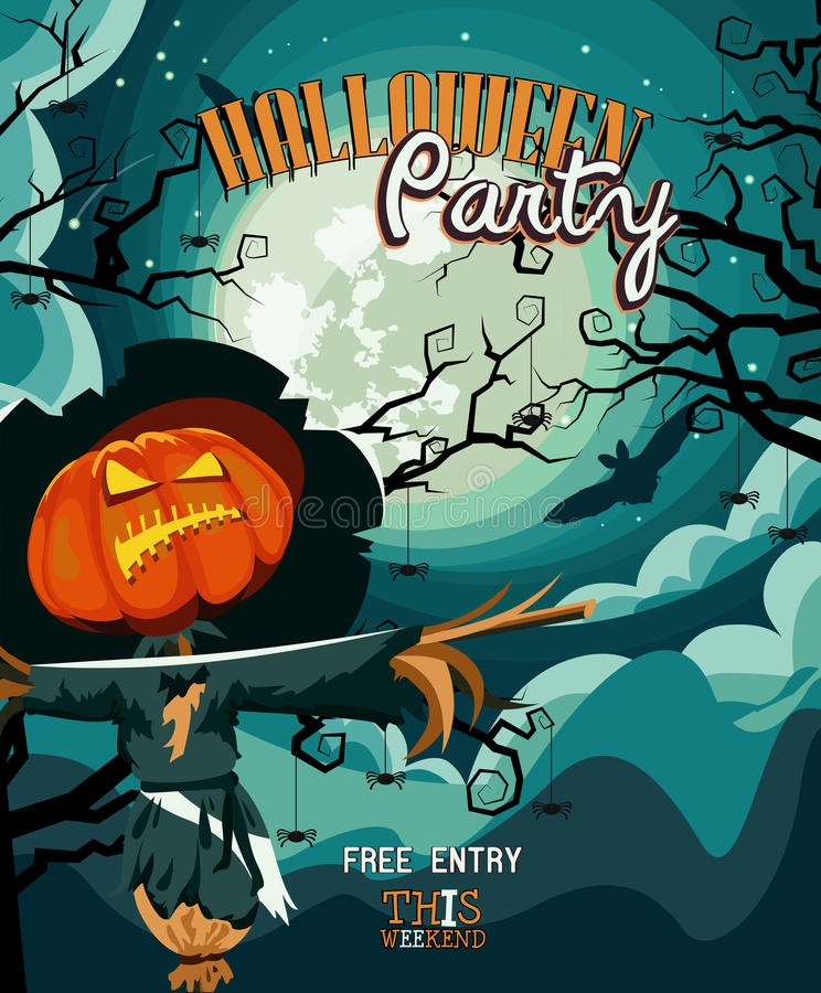 Carte d'invitation de vecteur de partie de Halloween avec le potiron rampant de cric illustration stock