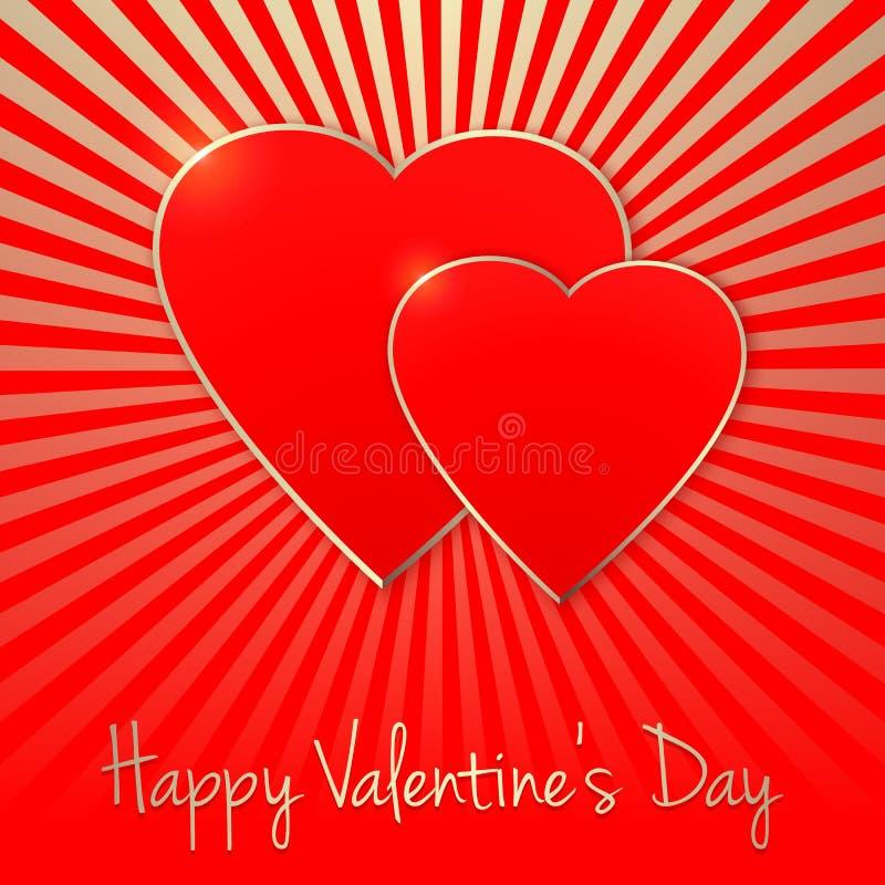 Carte d'invitation de vecteur Jour heureux du `s de Valentine Silhouette de coeur Calibre élégant pour votre conception tendre illustration stock