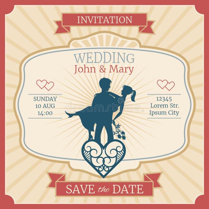 Carte d'invitation de vecteur de mariage avec juste les silhouettes mariées de jeunes mariés illustration de vecteur