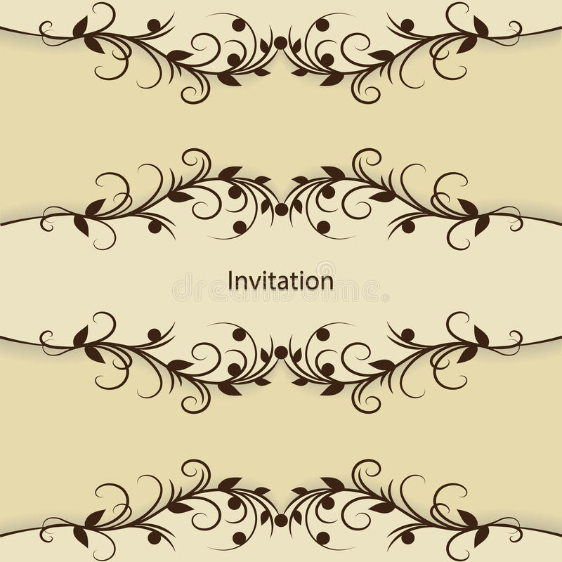 Carte d'invitation de vintage avec le modèle sur le brun illustration stock