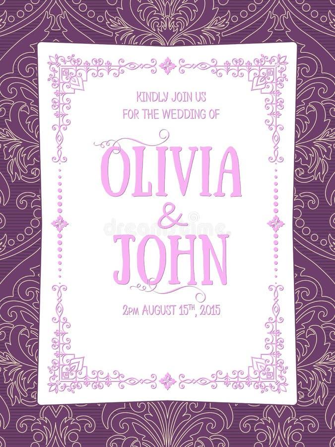 Carte d'invitation et d'annonce de mariage avec l'illustration de fond de vintage Fond fleuri élégant de damassé illustration de vecteur