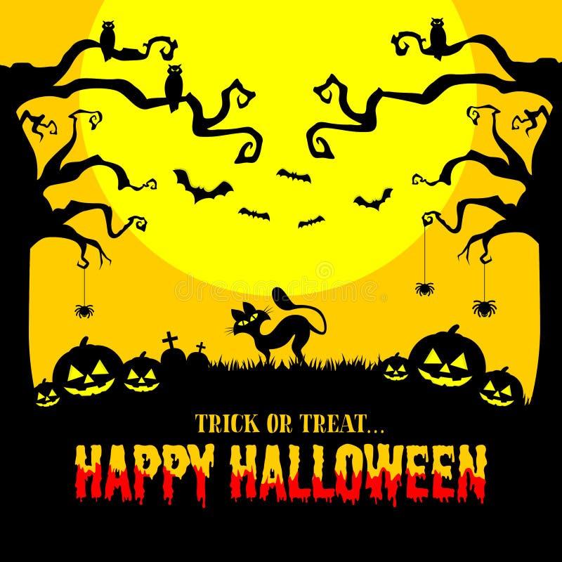 Carte d'invitation Halloween avec fond de nuit Chat noir, hibou, citrouille, chauve-souris, pierre tombale et araignée illustration libre de droits