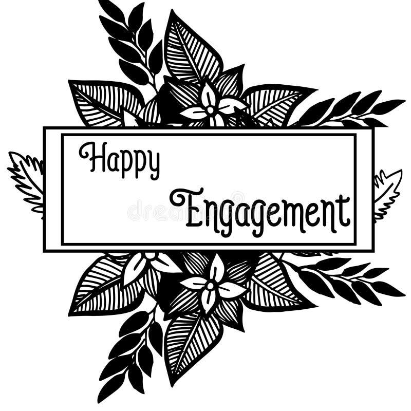 Carte d'invitation d'illustration de vecteur d'engagement heureux avec fleuri du cadre de fleur illustration stock