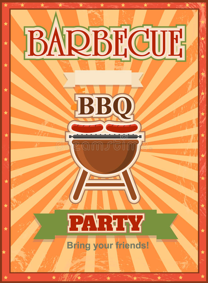 Carte d'invitation sur le calibre de conception de barbecue illustration stock