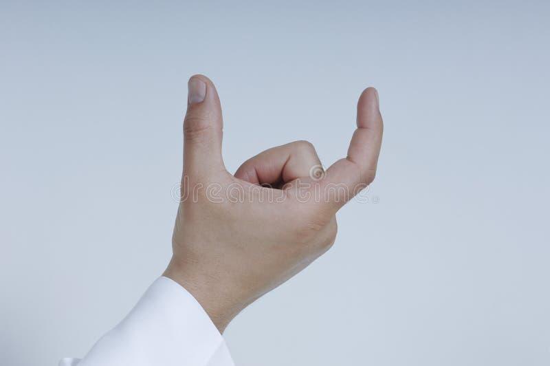 Carte d'isolement par participation masculine de main avec deux doigts images libres de droits