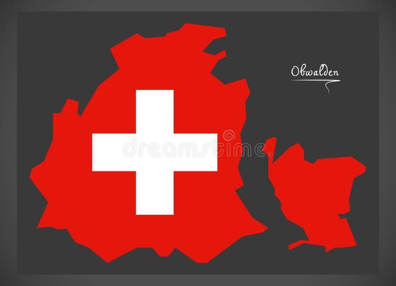 Carte d'Obwald de la Suisse avec l'illustratio suisse de drapeau national illustration stock