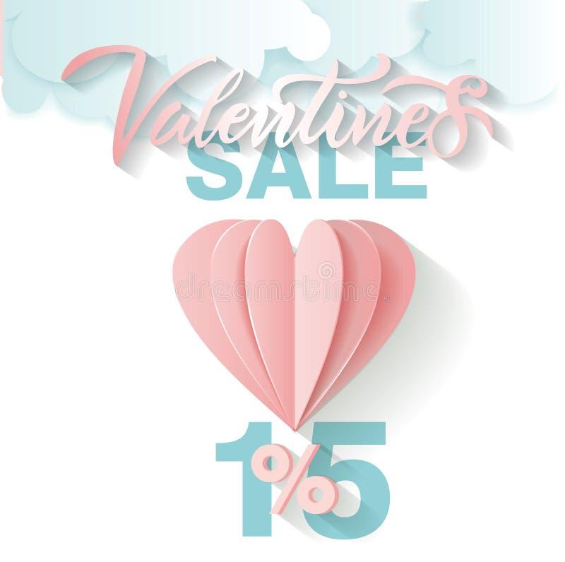 Carte d'offre en vente de Saint-Valentin Marquant avec des lettres la vente de Valentine 15 pour cent ballon et nuages de papier  illustration stock
