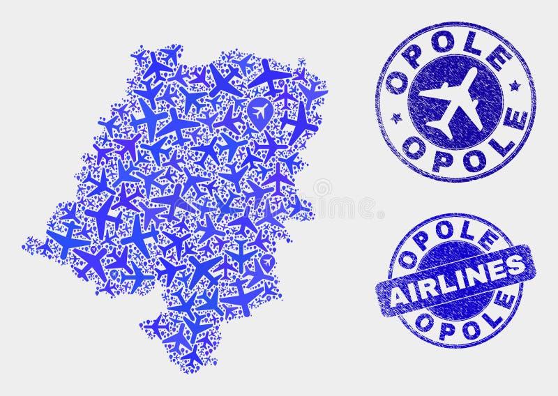 Carte d'Opole Voivodeship de vecteur de collage d'avions et timbres grunges illustration stock
