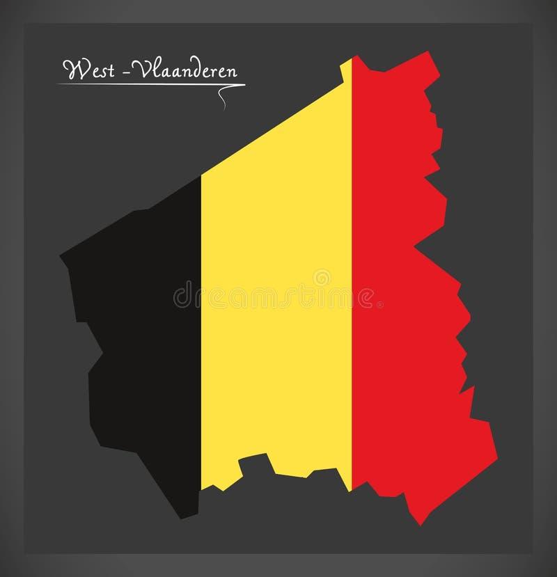 Carte d'ouest-Vlaanderen de la Belgique avec le drapeau national belge illustration de vecteur