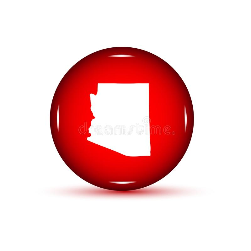 Carte d'U S État de l'Arizona Bouton rouge sur un backgrou blanc illustration libre de droits