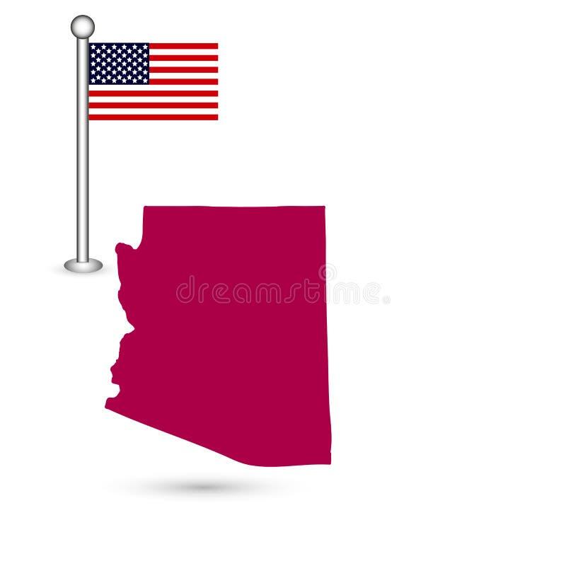 Carte d'U S état de l'Arizona sur un fond blanc américain illustration stock