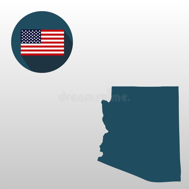 Carte d'U S état de l'Arizona sur un fond blanc Indicateur américain illustration libre de droits