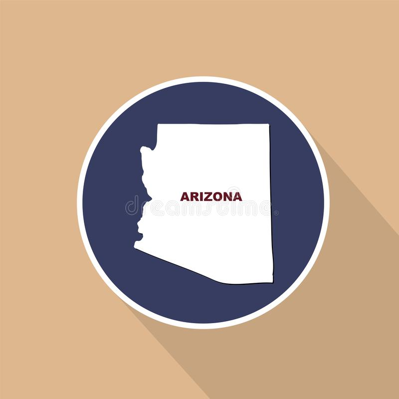 Carte d'U S état de l'Arizona sur un fond bleu Nam d'état illustration stock
