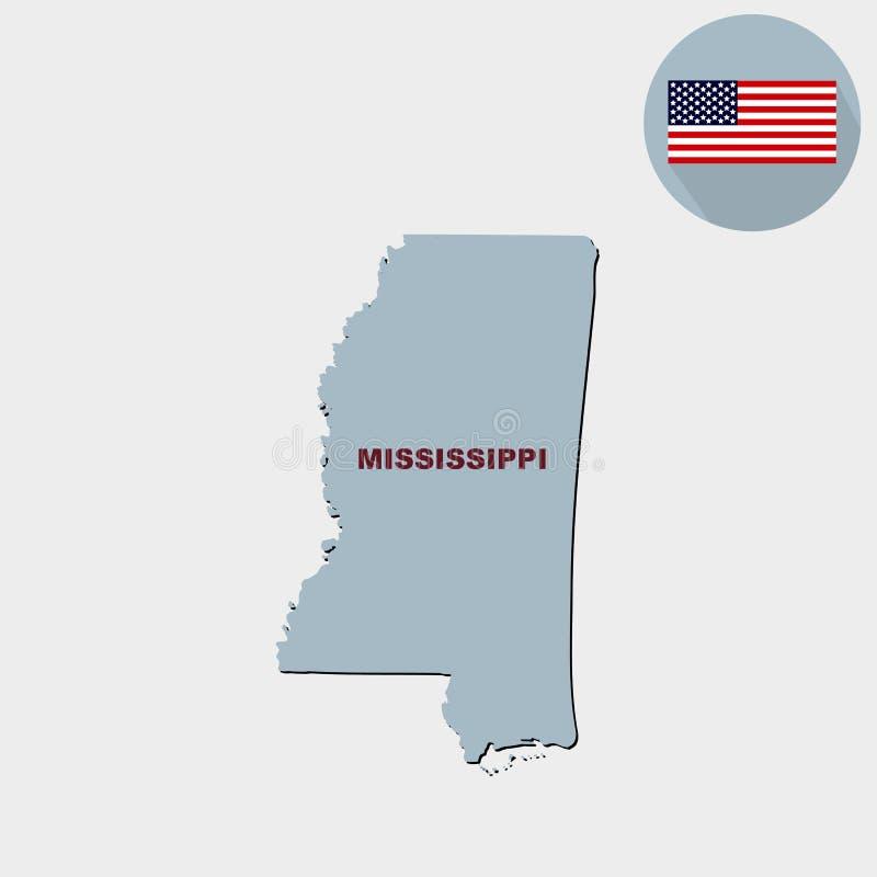 Carte d'U S état du Mississippi sur un fond gris Ameri illustration stock