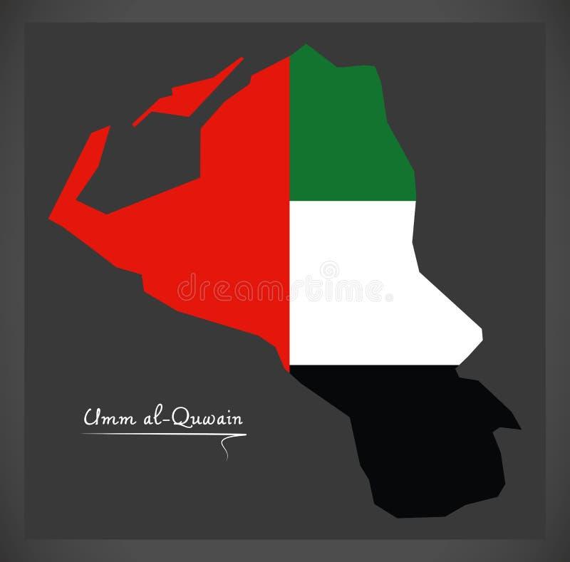 Carte d'Umm al-Quwain des Emirats Arabes Unis avec le drapeau national illustration de vecteur