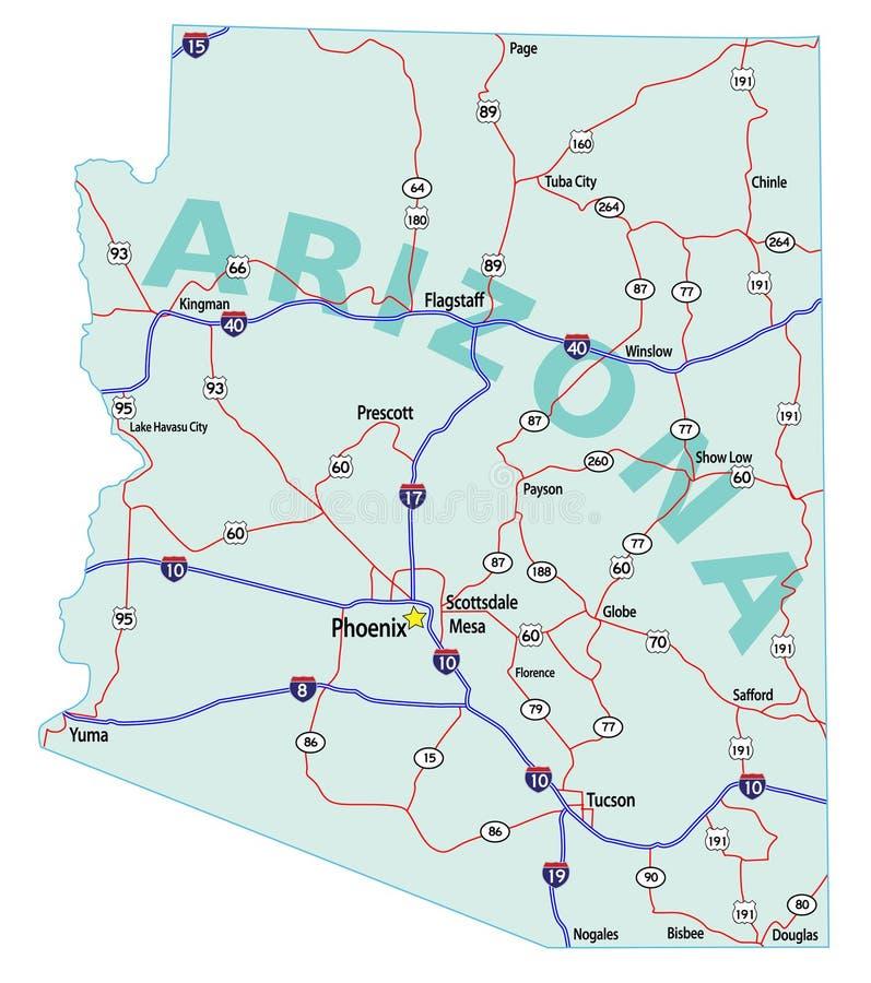 Carte d'un état à un autre d'état de l'Arizona illustration libre de droits
