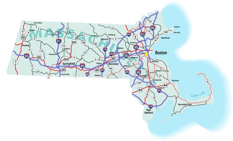 Carte d'un état à un autre d'état du Massachusetts illustration de vecteur