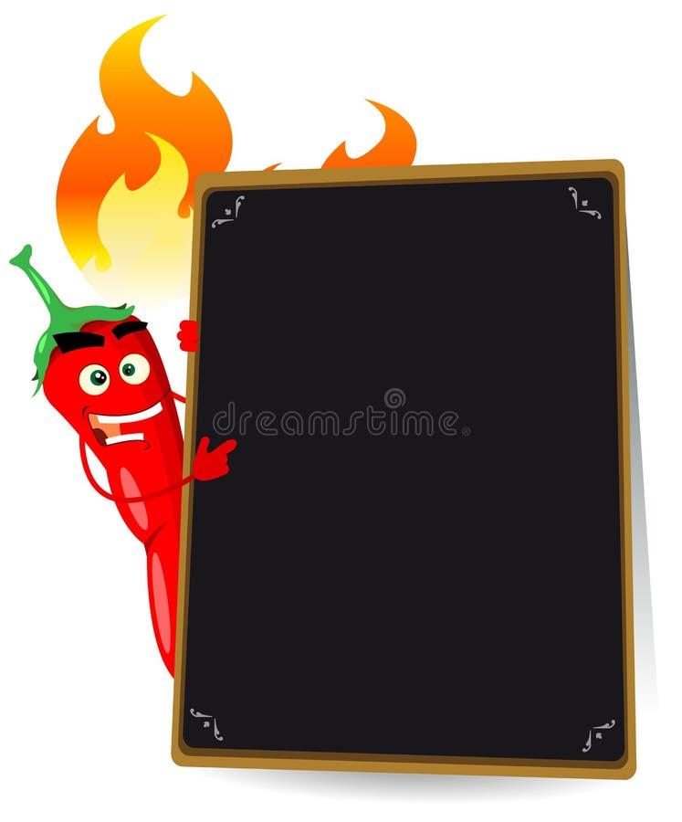 Carte d'un rouge ardent de poivre de /poivron de dessin animé illustration libre de droits