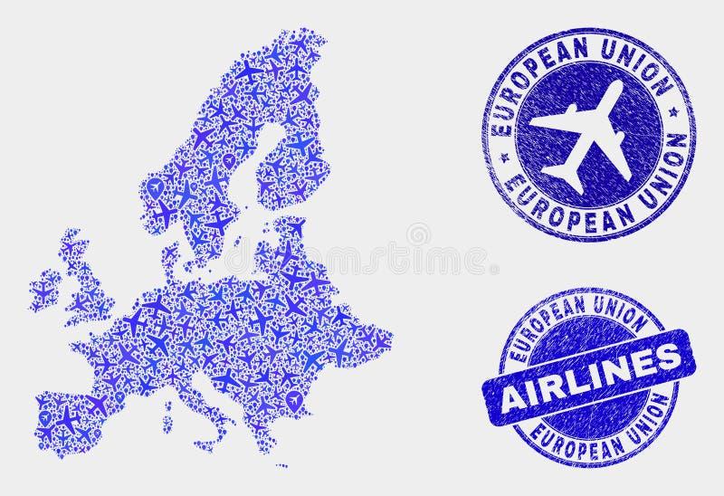 Carte d'Union européenne de vecteur de mosaïque d'avion et joints grunges illustration libre de droits