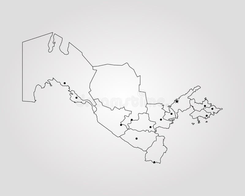 Carte d'Uzbekistan illustration de vecteur