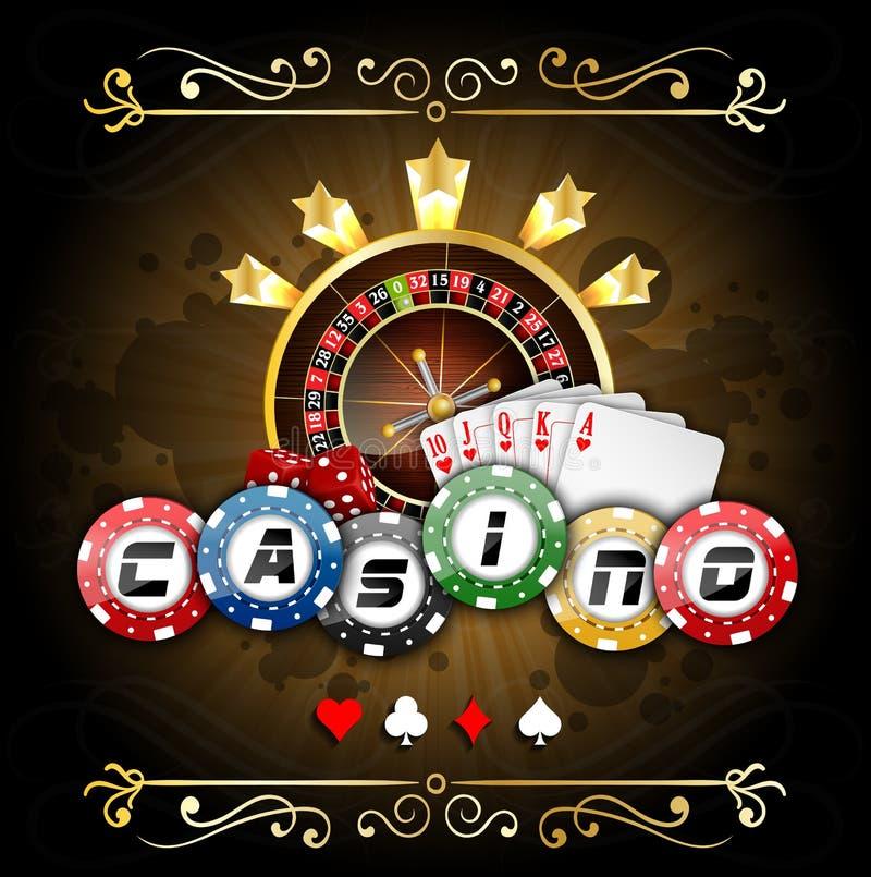 Carte da gioco con i chip di poker e la ruota di roulette illustrazione vettoriale