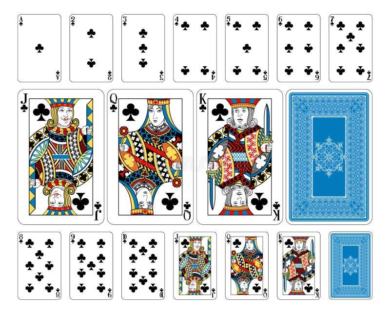 Carte da gioco del club di dimensione del ponte più l'inverso illustrazione di stock