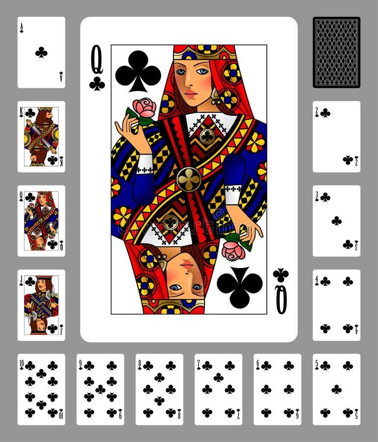 Carte da gioco del vestito e della parte posteriore dei club su fondo verde royalty illustrazione gratis