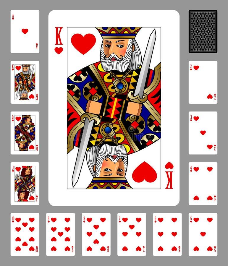 Carte da gioco del vestito e della parte posteriore dei cuori su fondo verde illustrazione vettoriale