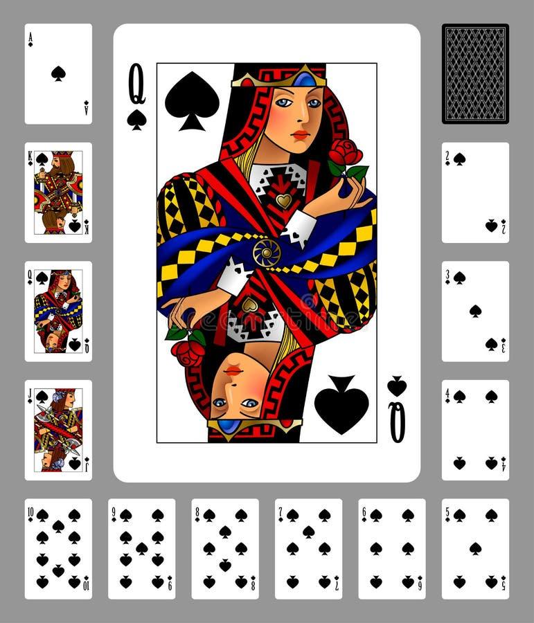 Carte da gioco del vestito e della parte posteriore delle vanghe su fondo verde illustrazione di stock