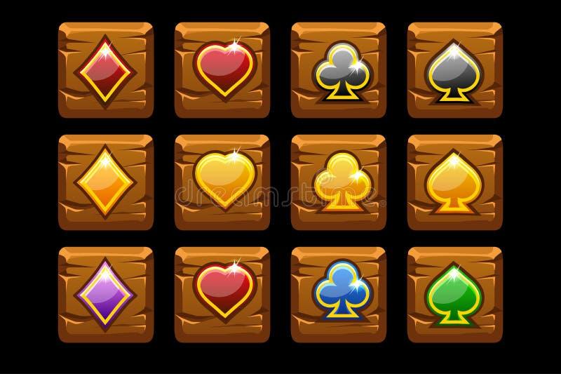 Carte da gioco di simboli di vettore sul quadrato di legno Icone del fumetto per il casinò del gioco, scanalatura, UI royalty illustrazione gratis